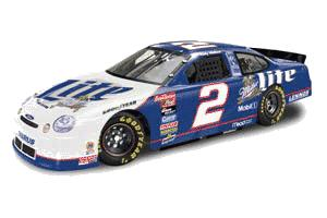 Action 1998 Rusty Wallace Miller Lite in clear display case (Platinum Series) diecast