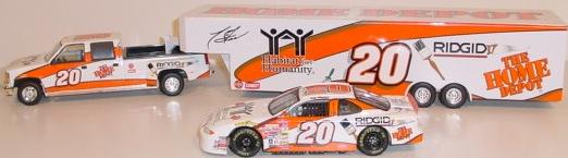 Brookfield 1999 Tony Stewart Habitat - Dually, Closed Trailer & Car (White) diecast